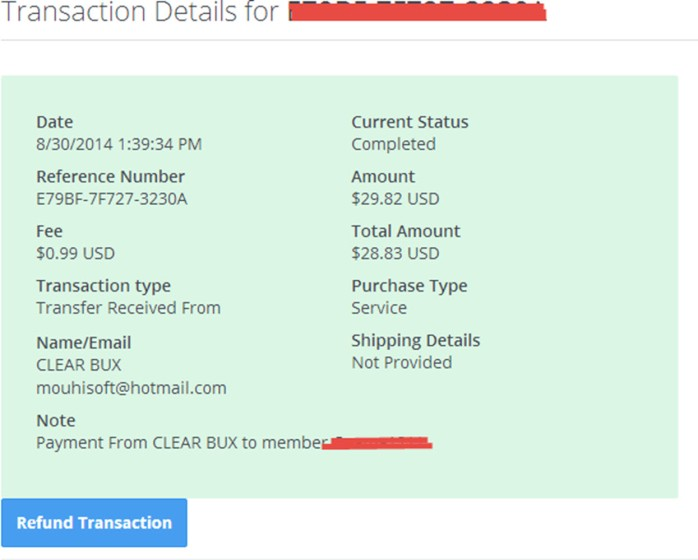 clear payment proof